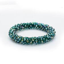 Fashion Women Rhinestone Crystal Stretch Elastic Beads Cuff Bracelet Bangle DIY