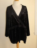 Avenue -Sz 30/32 3X 4X Rich Black Velvet Wrap Lace Romantic Shirt Top