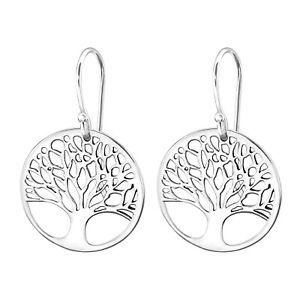 I love silver jewellery - Tree Of Life Sterling Silver Disk Drop Earrings 19mm
