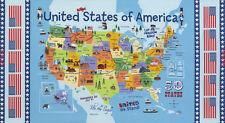 Timeless Treasures Fabric UNITED STATES MAP Panels