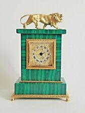 Beautiful Vintage Swiss Malachite Gilt Silver Clock Lion