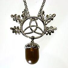 Triskel Oak Leaf Acorn Crystal Keeper Pendant Necklace Anne Stokes Silver Plate
