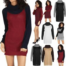 Womens Baggy Cowl Neck Dress Ladies Chunky Knit Contrast Sleeve Oversized Jumper