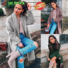 Womens Ladies Long Trench Winter Coats Cardigan Long Sleeve Lapel Neck Outerwear