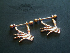 2 x Brustwarzenpiercing, Skelett Hand, 18 Karat Rose vergoldet, Nipple, Neu
