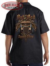 RAT ROD SPEED SHOP Mechanics Dickies Work Shirt ~ Hot Rod Skulls Garage Car Guy