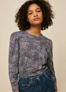 Whistles Puff Long Sleeve Print Top Lilac & Black Size 12 new
