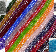 100 Faceted Rondelle Crystal Glass Beads 50 COLOUR 4x6mm FREE P&P Loose beads