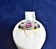 18CT GOLD RING-4.8gr. DIAMONDS IN 18WG-TDW=0.24ct.PINK SAPPH=0.364ct.+VALUATION