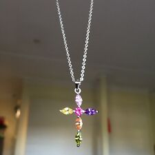 Beautiful Colorful Crystal Silver Cross pendant Sterling Silver S925