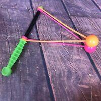Vintage 80s Clicker Clacker Klik Klak Noise Maker Toy Neon Green Orange Pink