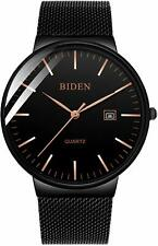 BesTn Mens Black Ultra Thin Quartz Watch Minimalist Fashion Luxury Wrist Watches