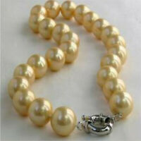 Genuine 10mm Natural Yellow Shell Pearl Necklace 18 inches Diy Accessories