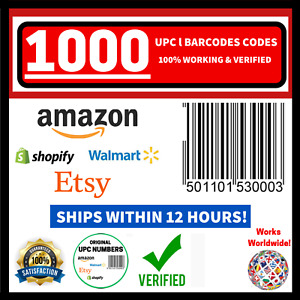 (1000) UPC EAN Verified Barcode Numbers NEW ORIGINAL Codes FOR Amazon Products