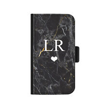 Personalised Initial Heart Phone Case, Black Marble PU Leather Flip Phone Cover