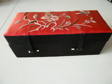Red Silk Cover Embroidered Chinese[Beijing]Jewelry Trinket Box Flower/Butterfly