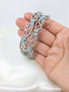 Indian Pakistani silver American Diamond bangles set green mint size 2.8