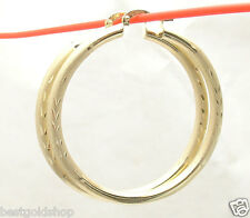 "4mm X 50mm 2"" Large Diamond Cut Hoop Earrings REAL 10K Yellow Gold 5.8gr"