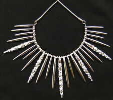 Necklace Punk Gothic Silver Spike Cone Radial Tassel Collar Statement Fringe