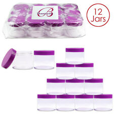 2Oz/60g/6ml (12 Pieces) HQ Acrylic Leak Proof Clear Container Jars w/Purple Lid