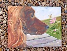IRISH SETTER DOG NEW ORIGINAL OIL PAINTING SANDRA COEN ARTIST ENGLAND