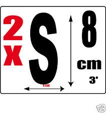 lot 2 lettres [S] Sticker autocollant noir hauteur 8cm Lettre adhésive en vinyle