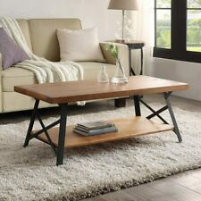 Solid Wood Industrial Coffee Table with Shelf Metal Rustic Cocktail Table Oak