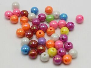 100 Mixed Bubblegum Color Luster AB Acrylic Round Beads 10mm Smooth Ball