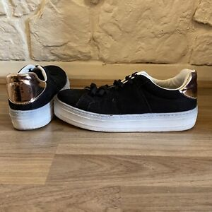 Miss Selfridge Converse Style Sneakers Black White With Rose Gold Heel Shoes UK6