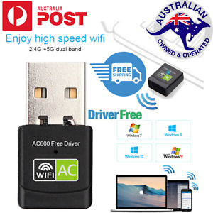 WIFI USB Adapter 600MB Plug & Play Dual Band AC600 Network Adapter 5GHz 2.4GHz