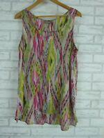 SUSSAN Top Sz 14 Brown, Green, Pink Print