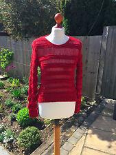 MAJE ladies red loose knit jumper size 1 - UK 8 - 10