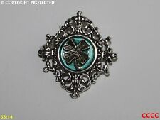 steampunk brooch badge shamrock Irish Ireland Eire 4 leafed clover good luck