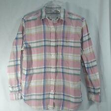 Jones New York Sport Womens Button Shirt petites size PS Pink Plaid Linen