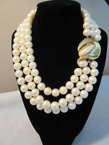 "Vintage?  Givenchy Faux Pearl Triple Strand Choker Necklace 16"" Gold Tone"