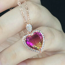 Pink Bi-Colored Tourmaline Jewelry Gift Necklace Rose Gold Plated Silver Pendant