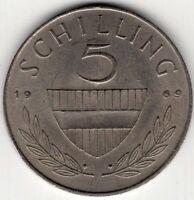 1969 AUSTRIA 5 SCHILLING WORLD COIN NICE!