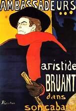 Vintage Ambassadeurs Aristide Bruant Henri de Toulouse-Lautrec Poster Print A4