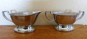Krome Kraft Farber Bros. Chrome Creamer & Sugar Bowl Vintage