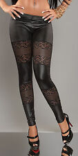 ♕ Sexy ❤  LEATHER look ❤ fashion leggings ❤ lace flower pattern ♕