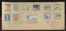 NIUE 1950 REGISTERED FIRST DAY COVER...PICTORIALS COMPLETE SET of 10...L1
