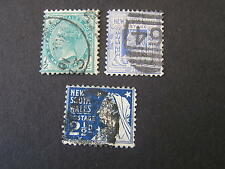 NEW SOUTH WALES, SCOTT # 102-104(3) 1/2p+2p+21/2p VALUE 1899 QV ISSUE USED