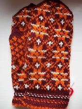 Latvian hand knitted 100% wool mittens, brown/orange/white (size S)
