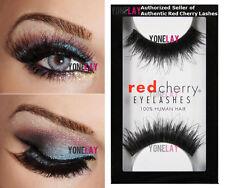1 Pair AUTHENTIC RED CHERRY #102 Chakra Black Human Hair False Eyelashes Lashes