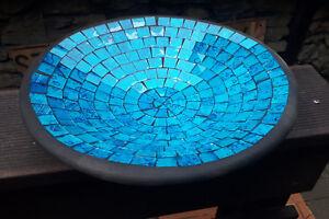 28cm türkis glas Mosaik Obst Deko Schale Teller Terracotta    alter Preis 34,99