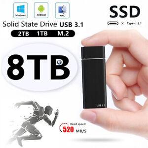 External Hard Drive HighSpeed USB3.1 Solid Drive SSD Desktop Mobile Lapto 1-8TB