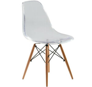 Replica Charles Eames DSW Dining Chair - transparent, black steel, natural ti...