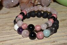 Lava Rock Amazonite Howlite Bracelet Stress Anxiety Relief Aromatherapy Crystals