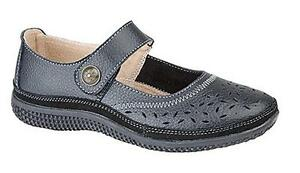 Ladies EEE Fitting Shoes Black Leather Extra Wide EEE Touch Fastening Comfort