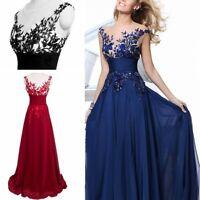Long Women Ladies Wedding Applique Evening Prom Gown Cocktail Party Dress